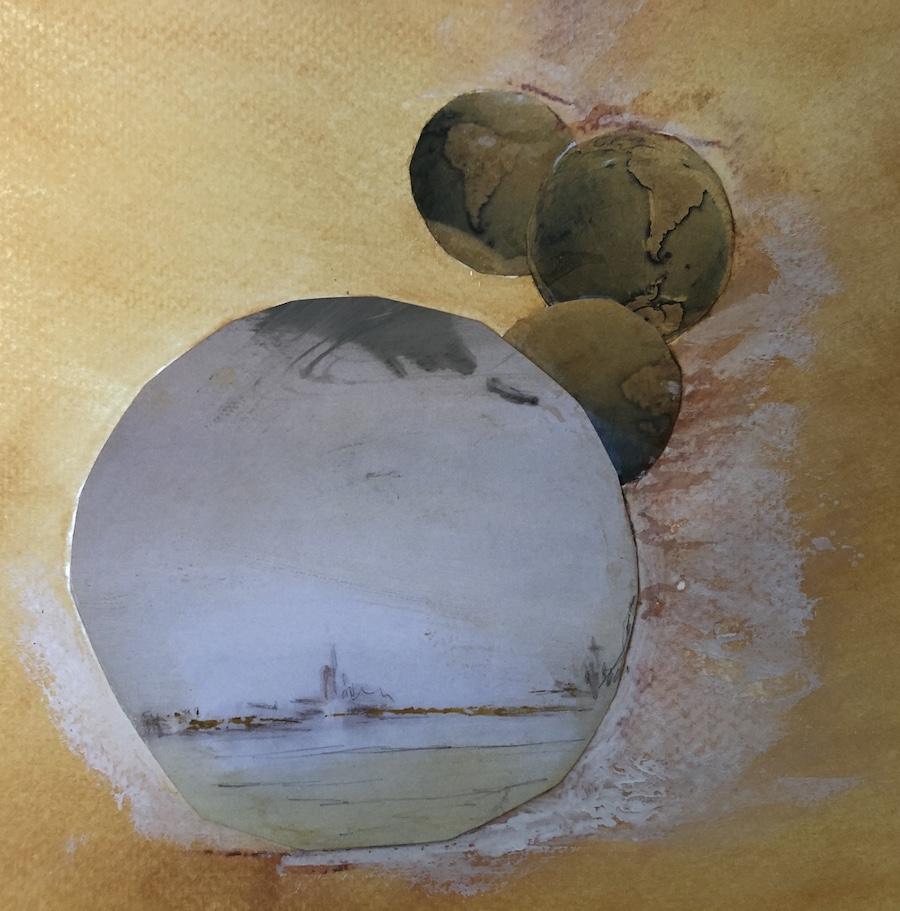 MUNDOS DESCONOCIDOS,  COLLAGE/ ACUARELA, 21 X 20,5 cm, ©loreto saura 2020