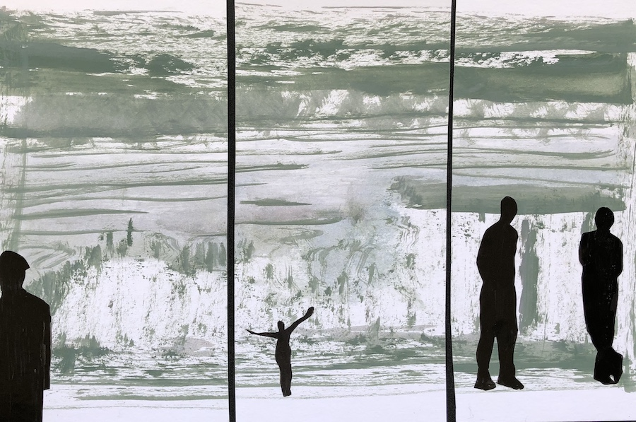 DISTANCIAMIENTO SOCIAL,  COLLAGE SOBRE ACUARELA, 34 X 22 cm, ©loreto saura 2020